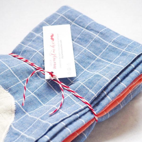 lange coton bio bleu coeur lange cru lily la moustache. Black Bedroom Furniture Sets. Home Design Ideas